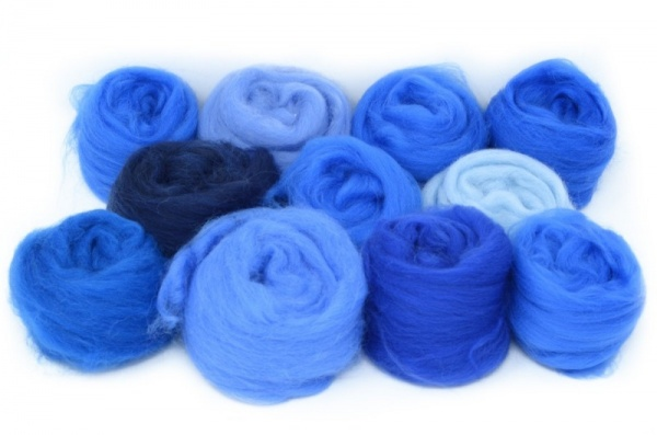 Craft Pack: Merinos, Mixed Blues 100gm