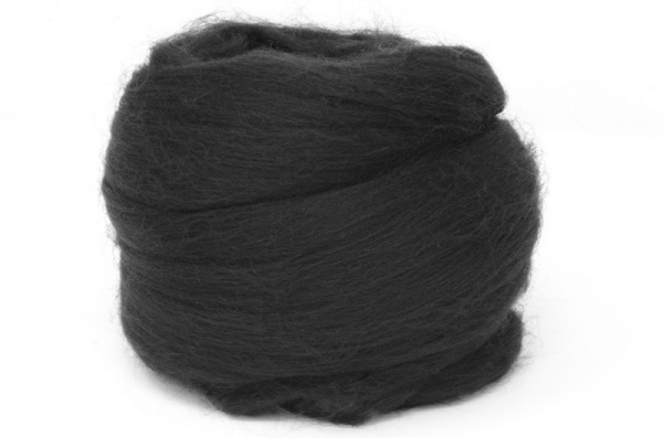 Dyed Corriedale Wool: Black 100gm