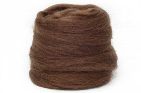 Dyed Corriedale Wool: Brown 100gm
