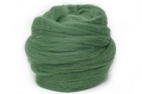 Dyed Corriedale Wool: Green 100gm