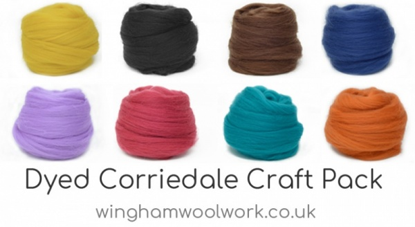 Dyed Corriedale Wool Craft Pack: 100gm